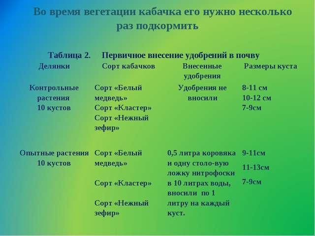 Во время вегетации кабачка его нужно несколько раз подкормить Таблица 2. П...