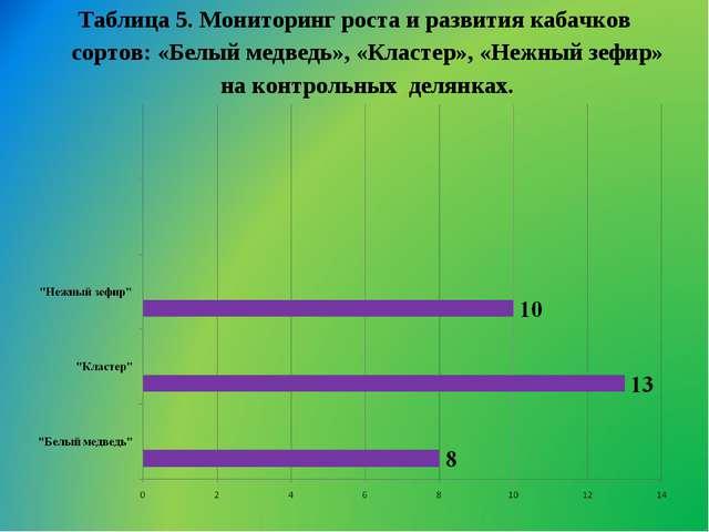 Таблица 5. Мониторинг роста и развития кабачков сортов: «Белый медведь», «Кла...