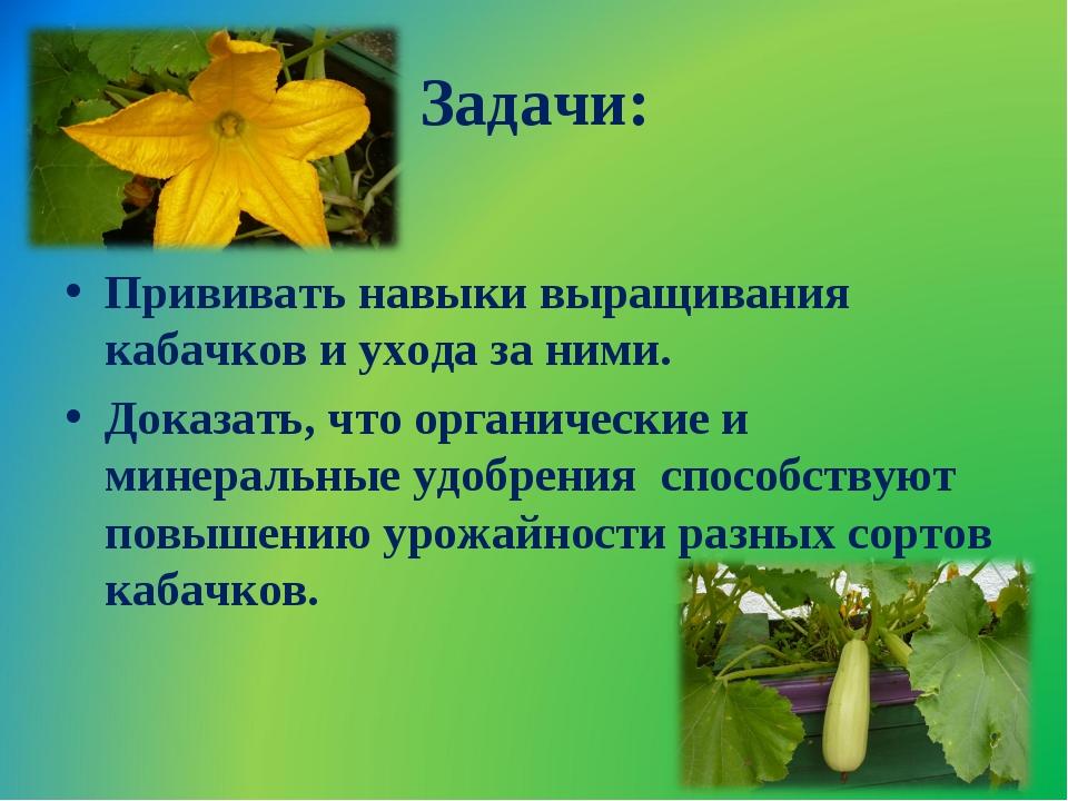 Задачи: Прививать навыки выращивания кабачков и ухода за ними. Доказать, что...