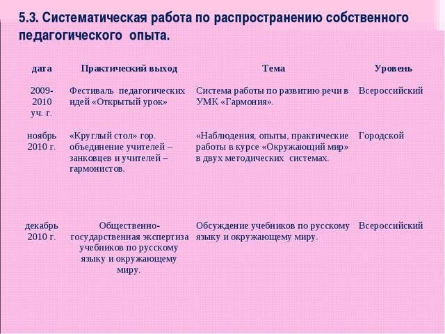 5.3. Систематическая работа по распространению собственного педагогического о...