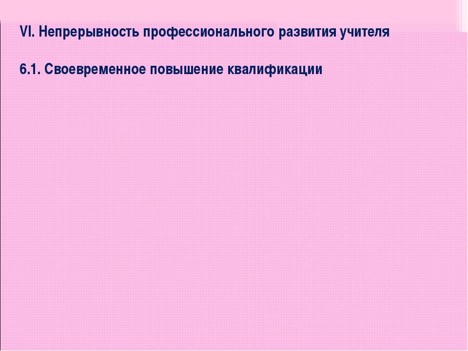 VI. Непрерывность профессионального развития учителя  6.1. Своевременное пов...