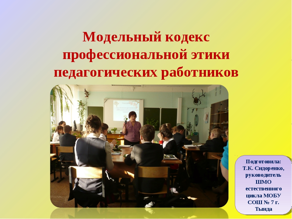Модельный кодекс профессиональной этики педагогических работников Подготовила...