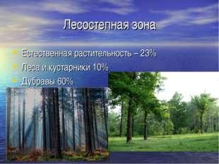 Лесостепная зона Естественная растительность – 23% Леса и кустарники 10% Дубр