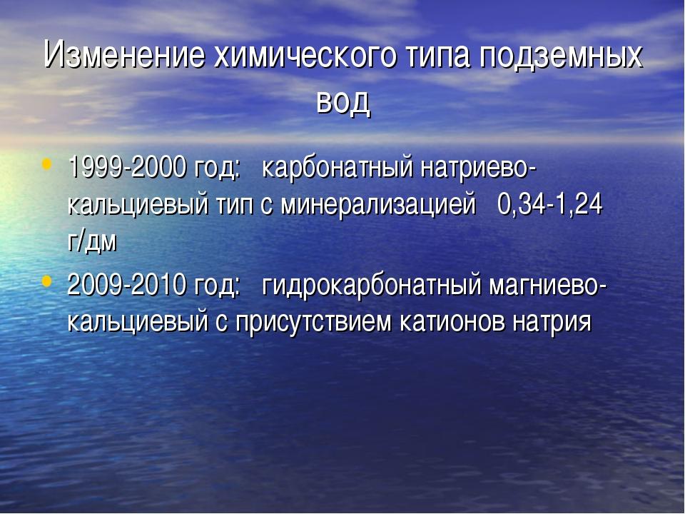 Изменение химического типа подземных вод 1999-2000 год: карбонатный натриево-...