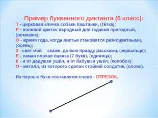 Пример буквенного диктанта (5 класс): Т - цирковая кличка собаки Каштанки, (т