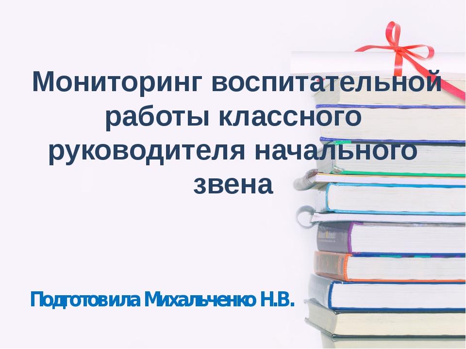 Мониторинг воспитательной работы классного руководителя начального звена Под...