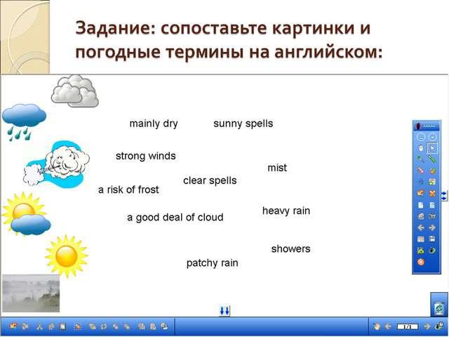 Задание: сопоставьте картинки и погодные термины на английском: