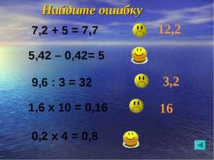 Найдите ошибку 12,2 3,2 16 7,2 + 5 = 7,7 5,42 – 0,42= 5 9,6 : 3 = 32 0,2 х 4