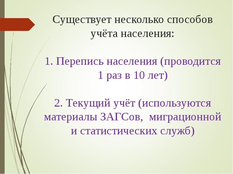 Существует несколько способов учёта населения: 1. Перепись населения (проводи...