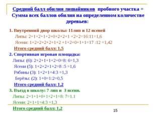 Средний балл обилия лишайников пробного участка = Сумма всех баллов обилия на