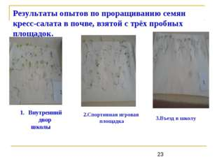 Результаты опытов по проращиванию семян кресс-салата в почве, взятой с трёх п