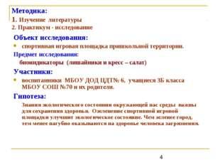 Методика: 1. Изучение литературы 2. Практикум - исследование Объект исследова