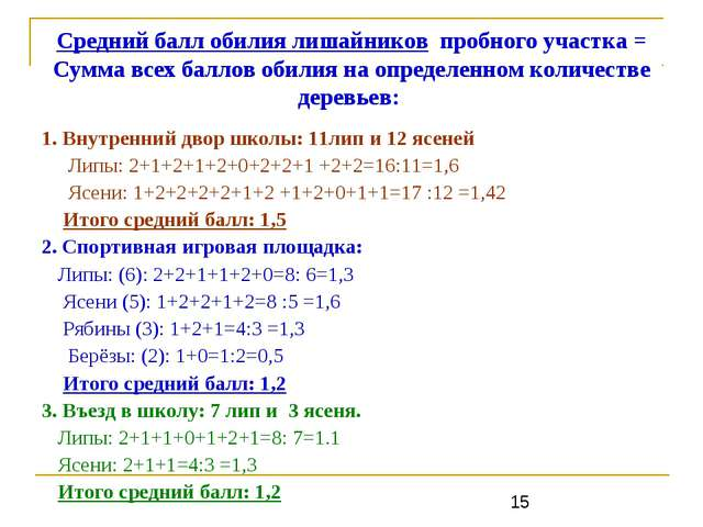 Средний балл обилия лишайников пробного участка = Сумма всех баллов обилия на...
