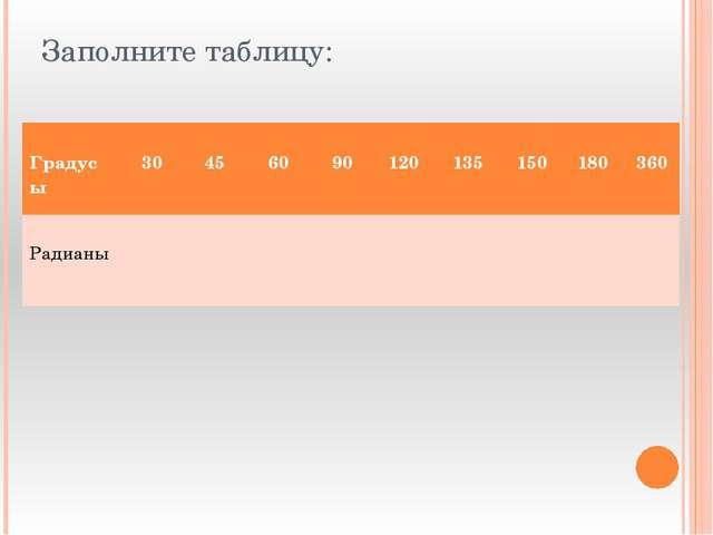 Заполните таблицу: Градусы 30 45 60 90 120 135 150 180 360 Радианы