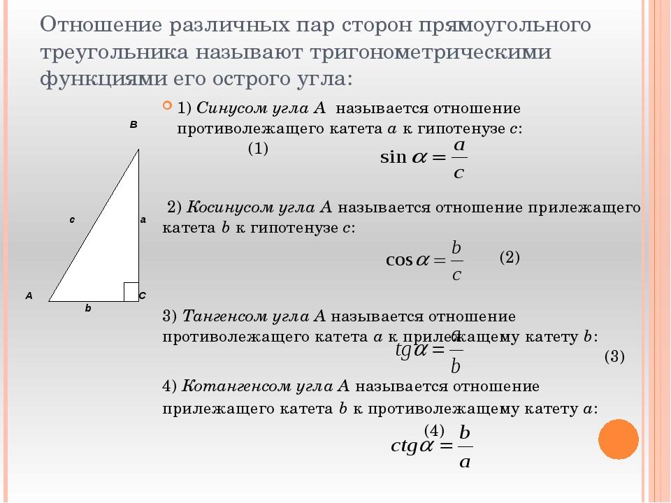 Отношение различных пар сторон прямоугольного треугольника называют тригономе...
