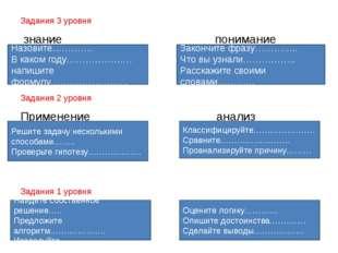 Задания 3 уровня знание понимание Задания 2 уровня Применение анализ Задания