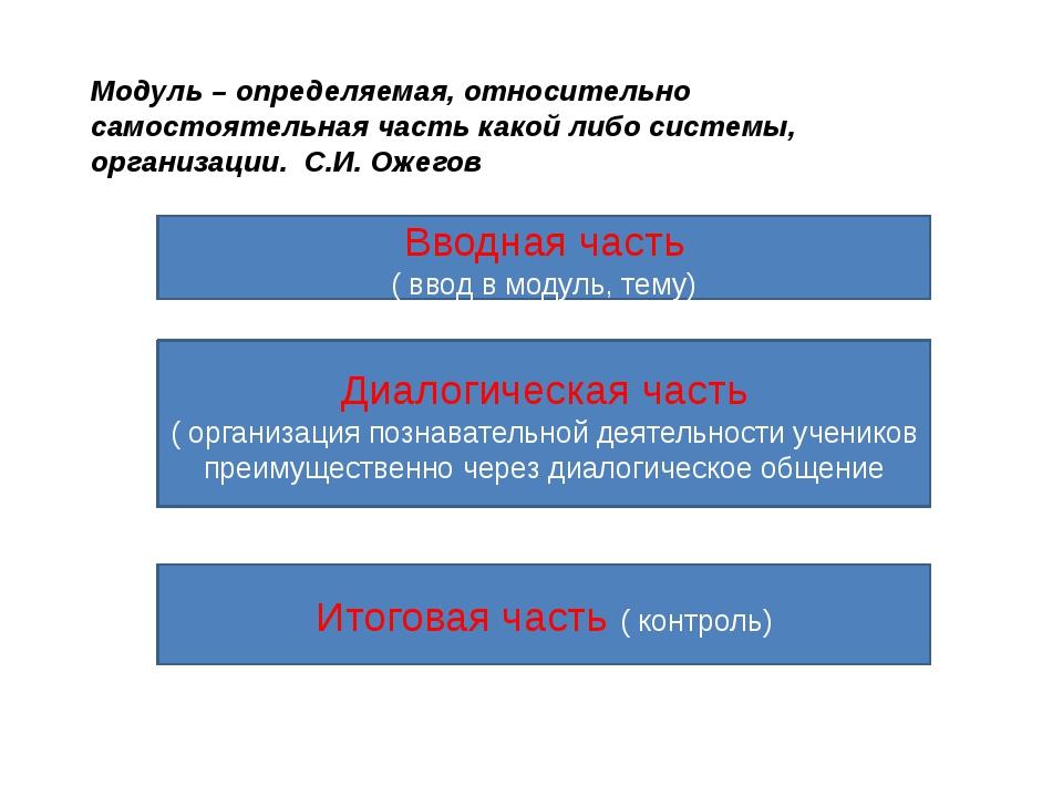 Модуль – определяемая, относительно самостоятельная часть какой либо системы,...