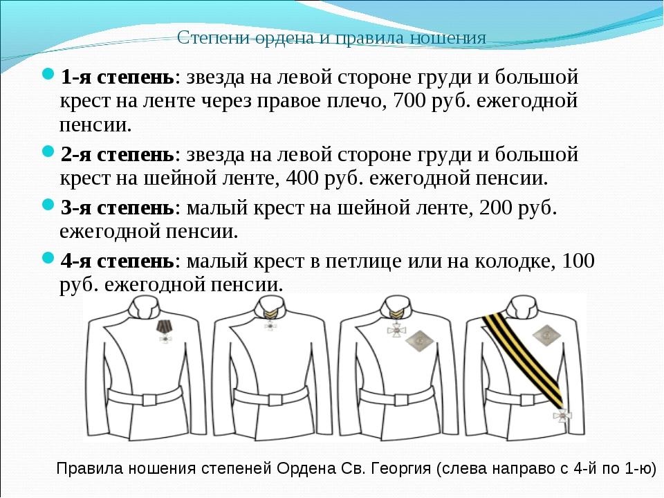 Степени ордена и правила ношения 1-я степень: звезда на левой стороне груди и...