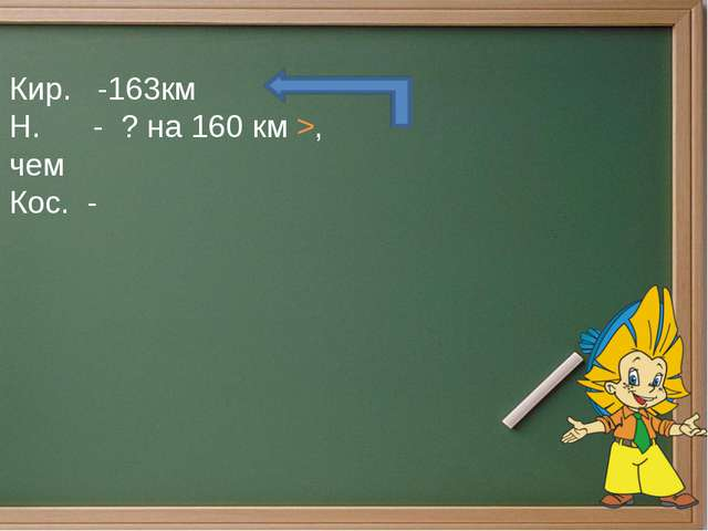 Кир. -163км Н. - ? на 160 км >, чем Кос. -