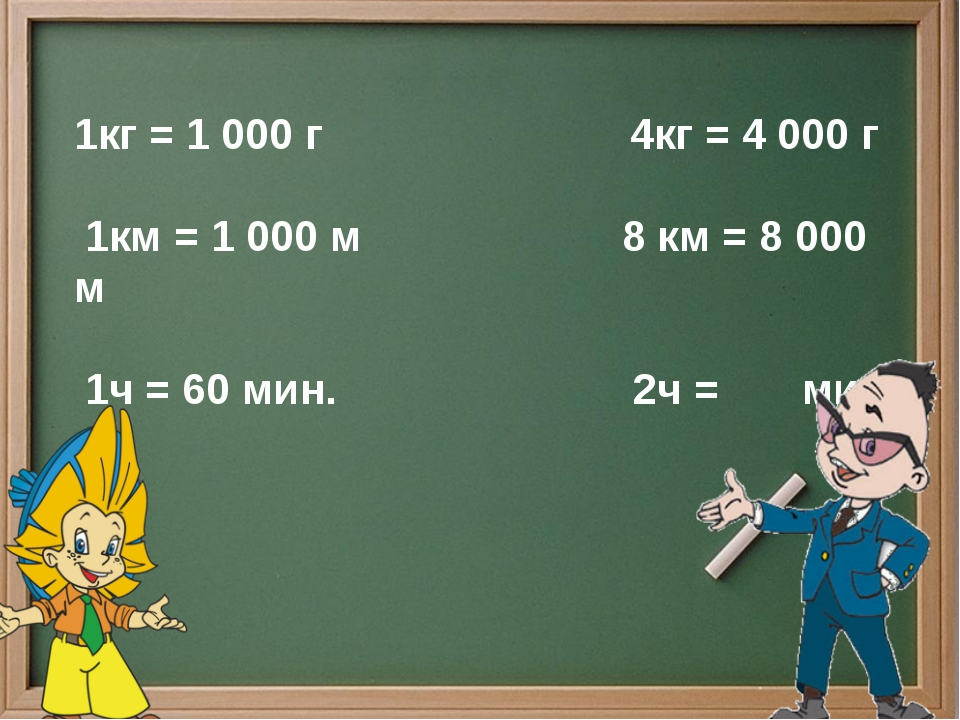 1кг = 1 000 г 4кг = 4 000 г 1км = 1 000 м 8 км = 8 000 м 1ч = 60 мин. 2ч = мин