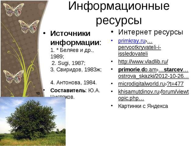 Информационные ресурсы Источники информации: 1. * Беляев и др., 1989; 2. Sugi...