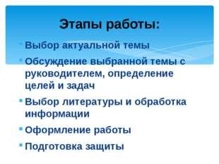 Выбор актуальной темы Обсуждение выбранной темы с руководителем, определение