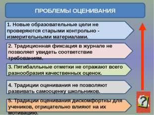 ПРОБЛЕМЫ ОЦЕНИВАНИЯ 1. Новые образовательные цели не проверяются старыми кон