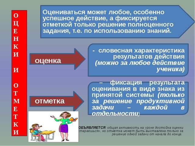 Пример: Ученикам ОБЪЯВЛЯЕТСЯ: общая активность на уроке достойна оценки «мол...