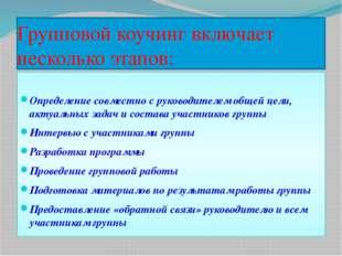 Групповой коучинг включает несколько этапов: Определение совместно с руководи