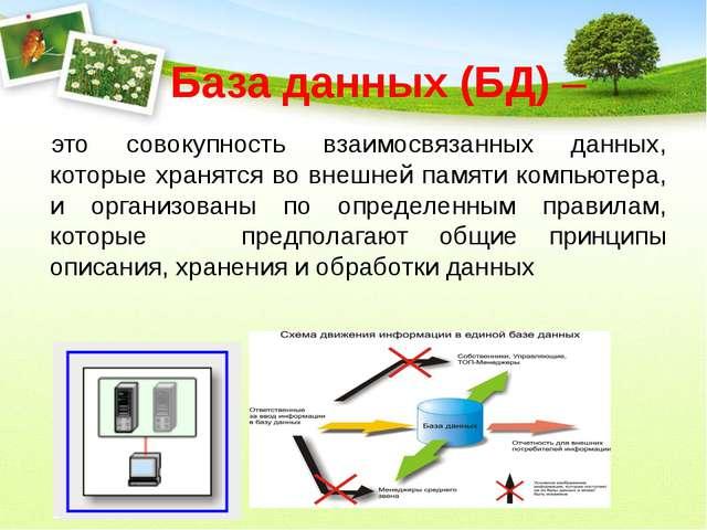 База данных (БД) – это совокупность взаимосвязанных данных, которые хранятся...
