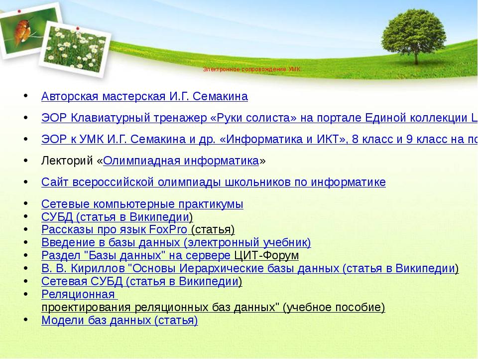 Электронное сопровождение УМК: Авторская мастерская И.Г. Семакина ЭОР Клавиа...