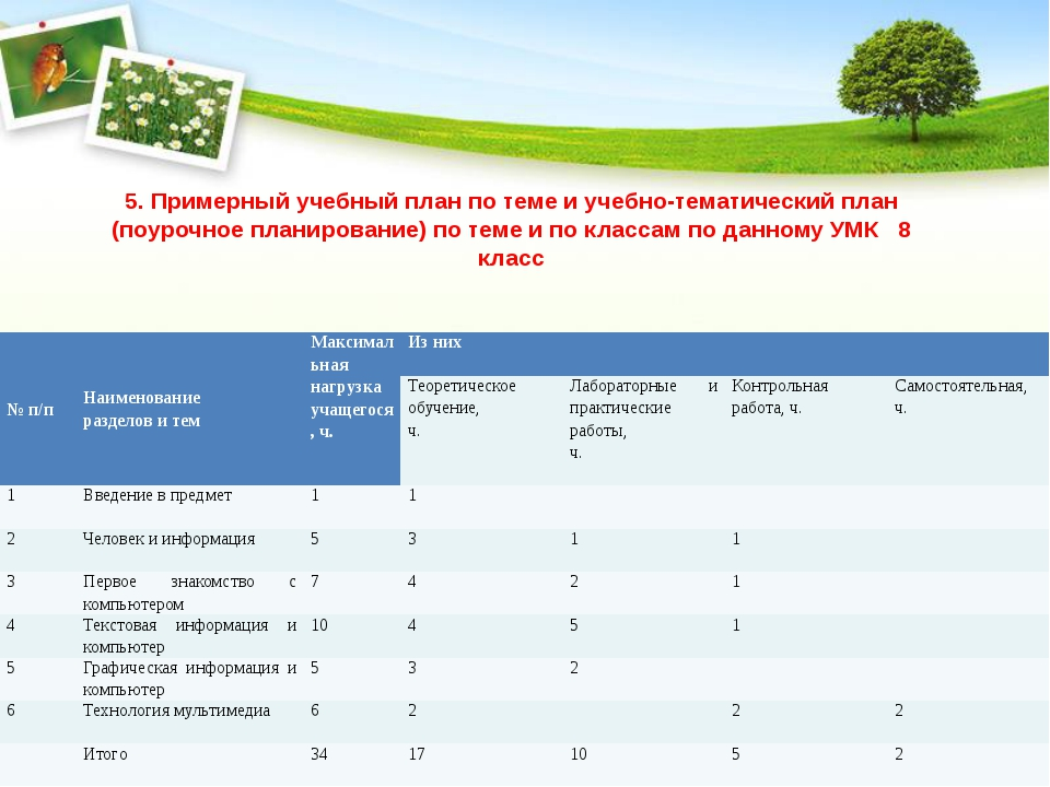 5. Примерный учебный план по теме и учебно-тематический план (поурочное плани...