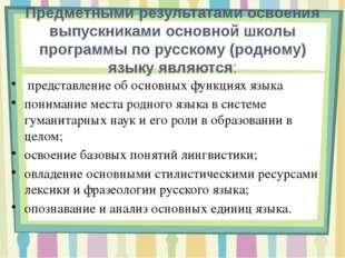 Место курса «Русский (родной) язык» в базисном учебном (образовательном) план