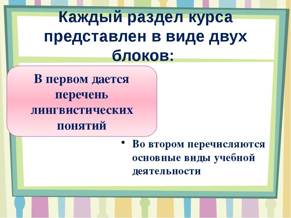 Каждый раздел курса представлен в виде двух блоков: В первом дается перечень...
