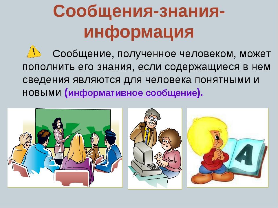 Сообщения-знания-информация Сообщение, полученное человеком, может пополнить...