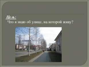 Цель: Что я знаю об улице, на которой живу?