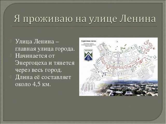 Улица Ленина – главная улица города. Начинается от Энергоцеха и тянется чере...