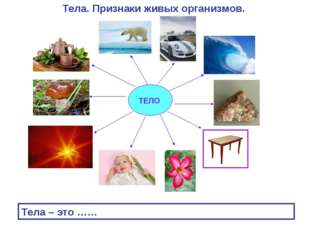 ТЕЛО Тела. Признаки живых организмов. Тела – это ……
