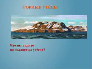 ГОРНЫЕ УТЁСЫ Что вы видите на скалистых утёсах?
