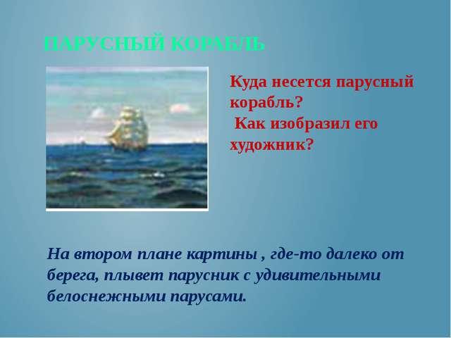 ПАРУСНЫЙ КОРАБЛЬ Куда несется парусный корабль? Как изобразил его художник? Н...