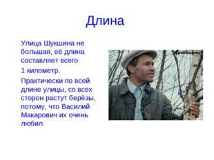 Длина Улица Шукшина не большая, её длина составляет всего 1 километр. Прак