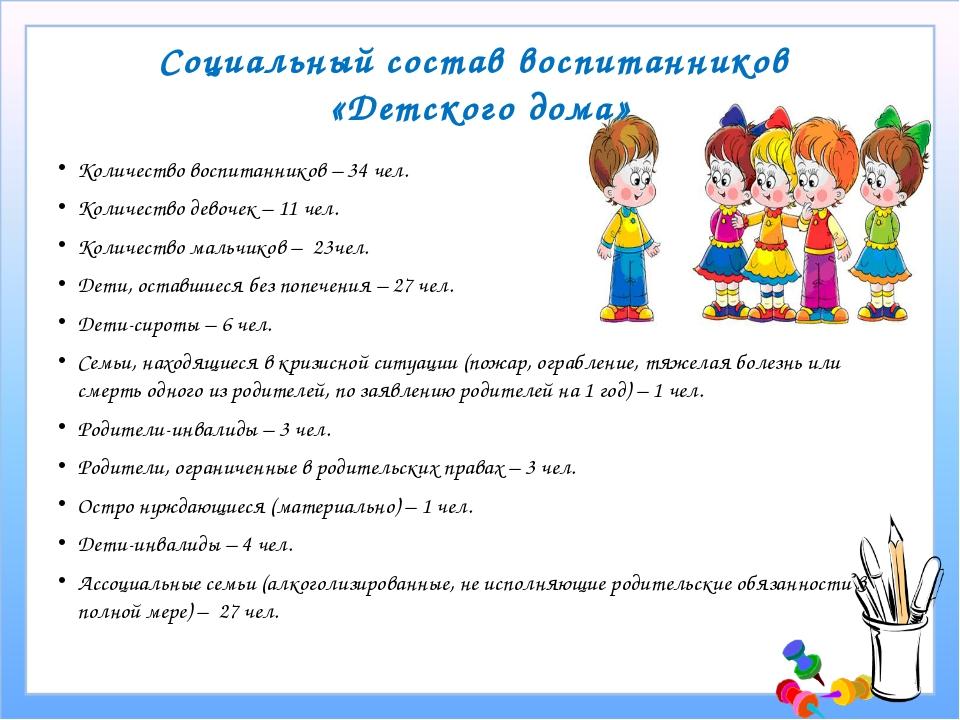 Социальный состав воспитанников «Детского дома» Количество воспитанников – 34...