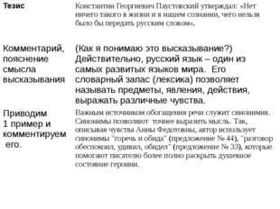 Тезис Константин Георгиевич Паустовский утверждал: «Нет ничего такого в жизни