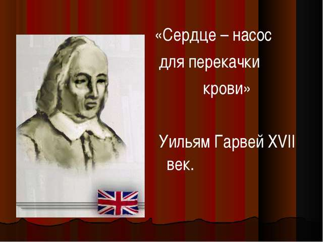 «Сердце – насос для перекачки крови» Уильям Гарвей XVII век.