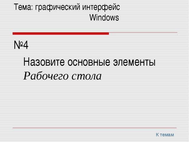 Тема: графический интерфейс Windows №4 Назовите основные элементы Раб...