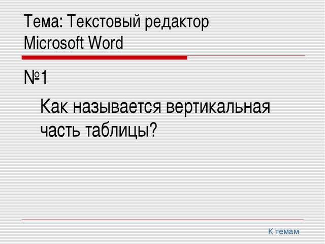 Тема: Текстовый редактор Microsoft Word №1 Как называется вертикальная ча...