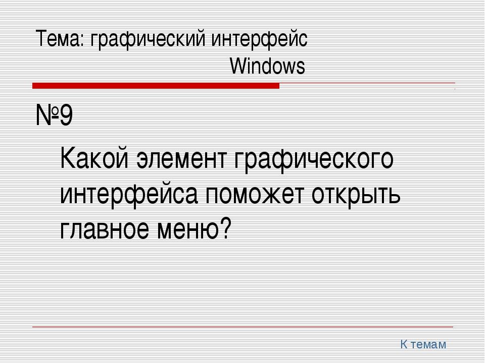 Тема: графический интерфейс Windows №9 Какой элемент графического инт...