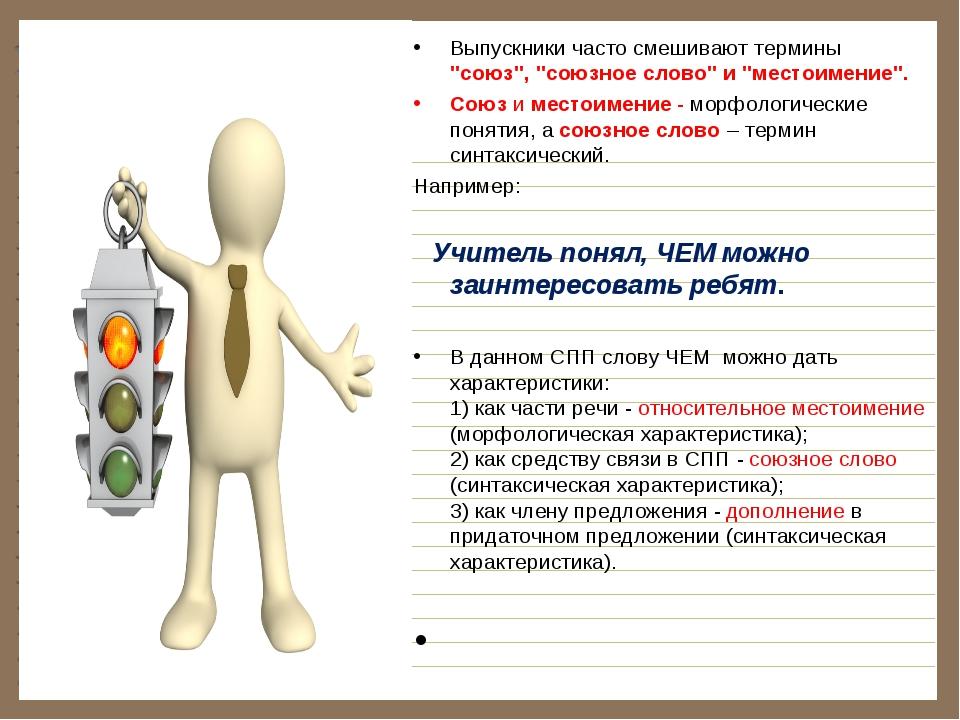 """Выпускники часто смешивают термины """"союз"""", """"союзное слово"""" и """"местоимение""""...."""