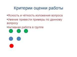 Критерии оценки работы Ясность и чёткость изложения вопроса Умение привести п