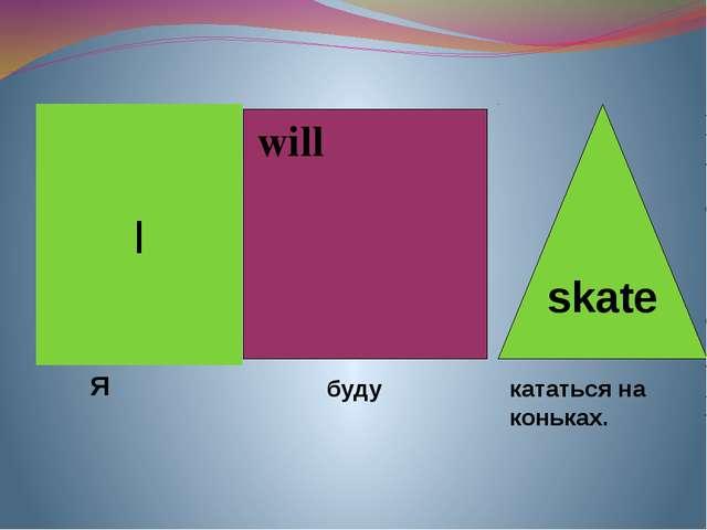 will I skate Я буду кататься на коньках.